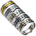 cheap Men's Bracelets-Men's Band Ring - Titanium Steel Skull Punk 6 / 7 / 8 Black / Silver / Dark Blue For Daily