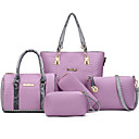 cheap Bag Sets-Women's Bags PU Bag Set Zipper / Flower Black / Gray / Purple