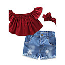 cheap Girls' Dresses-Toddler Girls' Ruffle / Dresswear Solid Colored / Vintage Short Sleeve Cotton Clothing Set