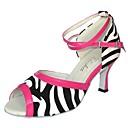 baratos Sapatos de Dança Latina-Mulheres Sapatos de Dança Latina Courino / Couro Ecológico Sandália Salto Personalizado Personalizável Sapatos de Dança Preto / Branco
