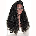 お買い得  人毛レースウィッグ-人毛 フロントレース かつら Kinky Curly ベイビーへア付き 130% 密度 ブラックアメリカン風ウィッグ / 100%手作業縫い付け 女性用 / ブラジリアンヘア / その他の特徴カーリー