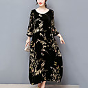 cheap Bakeware-Women's Plus Size Going out Street chic Loose Dress Black, Print / Fall