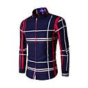 cheap Bakeware-Men's Cotton Slim Shirt - Plaid Print Button Down Collar / Long Sleeve