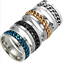 cheap Men's Rings-Men's Band Ring - Titanium Steel Fashion 6 / 7 / 8 / 9 / 10 Black / Silver / Dark Blue For Daily