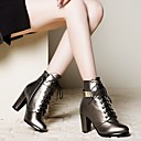 hesapli Kadın Botları-Kadın's Çizmeler Kalın Topuk Yuvarlak Uçlu Fermuar / Bağcıklı Yapay Deri Bootiler / Bilek Botları Moda Botlar Kış Siyah / Gümüş / Açık Kahverengi