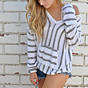 cheap Wedding Wraps-Women's Daily / Going out Solid Colored Long Sleeve Loose Regular Pullover, Round Neck Fall / Winter Cotton Black / Gray / Khaki M / L / XL / Fine Stripe
