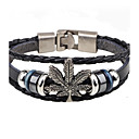 cheap Men's Bracelets-Men's Leather Bracelet - Leather Leaf Vintage, Fashion Bracelet Black / Brown For Casual Going out