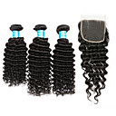 cheap Micro Ring Hair Extension-3 Bundles with Closure Brazilian Hair Classic / Deep Wave Human Hair Hair Weft with Closure 8-12 inch Human Hair Weaves 4x4 Closure Human Hair Extensions