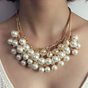cheap Men's Bracelets-Women's Pendant Necklace / Statement Necklace - Imitation Pearl Statement, Luxury White Necklace For Wedding, Evening Party