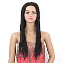 olcso Emberi hajból készült parókák-Szintetikus parókák Egyenes Szintetikus haj Fonott paróka Fekete Paróka Női Hosszú Sapka nélküli