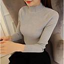 זול שרשראות עם תליו-כותנה אחיד - סוודר שרוול ארוך צווארון עגול קצר ליציאה בגדי ריקוד נשים