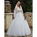 cheap Wall Murals-Ball Gown Spaghetti Strap Floor Length Tulle / Floral Lace Made-To-Measure Wedding Dresses with Beading / Appliques by LAN TING BRIDE®