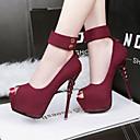 זול נעלי עקב לנשים-בגדי ריקוד נשים נעליים פליז אביב / קיץ נוחות עקבים ל מסיבה וערב ירוק / ורוד / Wine
