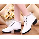 cheap Dance Sneakers-Women's Dance Sneakers Leather Heel Platform Dance Shoes White / Red / Practice