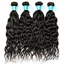 cheap One Pack Hair-4 Bundles Brazilian Hair Water Wave Remy Human Hair Natural Color Hair Weaves / Hair Bulk Human Hair Weaves Human Hair Extensions