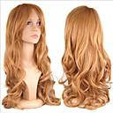 preiswerte Synthetische Perücken ohne Kappe-Synthetische Perücken Damen Locken Blond Synthetische Haare Blond Perücke Lang Kappenlos Braun