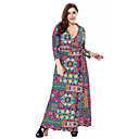 cheap Earrings-Women's Plus Size Going out Sophisticated Boho Loose Sheath Swing Dress - Floral Geometric Paisley Cut Out High Rise Maxi V Neck