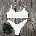 halpa Polun valot-Naisten Olkaimellinen Valkoinen Musta Bandeau Stringit Bikini Uima-asut - Yhtenäinen S M L / Matala vyötärö / Kesä / Seksikäs