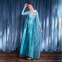 זול תחפושות בנושאי טלוויזיה וסרטים-נסיכות אֵלָה אלזה פסטיבל / חג פולי / כותנה כחול תחפושות קרנבל צבע אחיד