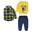 cheap Fashion Watches-Boys' Stripe Clothing Set, Cotton Fall Long Sleeves Check Yellow