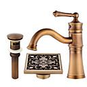 olcso Fürdőszoba tartozék készlet-Három lyukas Kerámiaszelep Egy fogantyú egy lyukkal Antik réz, Csaptelep