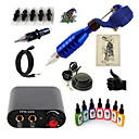 cheap Starter Tattoo Kits-Tattoo Machine Starter Kit - 1 pcs Tattoo Machines with 7 x 15 ml tattoo inks, Professional Mini power supply 1 rotary machine liner &