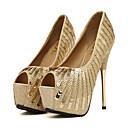 olcso Menyasszonyi cipők-Női Cipő Flitter / PU Tavasz / Ősz Kényelmes / Újdonság Esküvői cipők Köröm Flitter Arany / Party és Estélyi