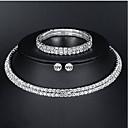 tanie Zestawy biżuterii-Damskie Biżuteria Ustaw - Podstawowy, Elegancja Zawierać Srebrny Na Ślub Codzienny