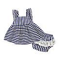 ieftine Rochii Bebeluși-Bebelus Fete Set Îmbrăcăminte Culoare solidă Dungi Bumbac Zilnic Vară Linii Alb Bleumarin