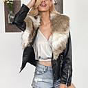 お買い得  レディースコート&トレンチコート-女性用 プラスサイズ ファーコート シャツカラー ソリッド, フェイクファー