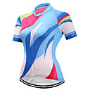 abordables Maillots Ciclismo-FUALRNY® Mujer Manga Corta Maillot de Ciclismo - Azul / blanco Bicicleta Camiseta / Maillot, Secado rápido, Bandas Reflectantes Coolmax®
