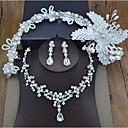 olcso Ékszer szettek-Női Szintetikus gyémánt Ékszer szett - Leaf Shape, Kruna Édes tartalmaz Fejfedők / Nyaklánc Ezüst Kompatibilitás Esküvő / Parti / Születésnap / Eljegyzés / Szerető