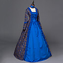 billige Historiske kostymer og vintagekosty,re-Rokoko Victoriansk Kostume Dame Kjoler Party-kostyme Maskerade Blå Vintage Cosplay Satin Langermet Gulvlang Halloween-kostymer