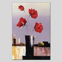 tanie Obrazy: motyw roślinny/botaniczny-Hang-Malowane obraz olejny Ręcznie malowane - Kwiatowy / Roślinny Klasyczny Brezentowy / Rozciągnięte płótno