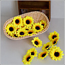 hesapli Yapay Çiçekler-Yapay Çiçekler 10 şube Pastoral Stil Ayçiçekleri Masaüstü Çiçeği