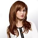 tanie Bez czepka-Ludzkie Włosy Capless Peruki Włosy naturalne Naturalne fale Część Boczna Długo Tkany maszynowo Peruka Damskie