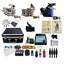 cheap Starter Tattoo Kits-BaseKey Tattoo Machine Professional Tattoo Kit - 3 pcs Tattoo Machines, Professional Case Included 1 cast iron machine liner & shader / 2 steel machine liner & shader