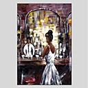 tanie Obrazy: motyw ludzi-Hang-Malowane obraz olejny Ręcznie malowane - Ludzie Nowoczesny Brezentowy / Rozciągnięte płótno