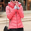 זול שרשרת אופנתית-XL / XXL / XXXL לבן / אודם / ורוד מסמיק כותנה / אקריליק / אחרים, מעיל פוך רגיל שרוול ארוך דפוס אחיד / פסים פעיל ליציאה בגדי ריקוד נשים