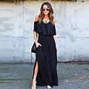 זול תכשיטי גוף-שחור סירה רחב מקסי אחיד - שמלה נדן כותנה סגנון רחוב עבודה בגדי ריקוד נשים
