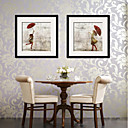 tanie Brokat do paznokci-Oprawione płótno Zestaw w oprawie Ludzie Postarzane Wall Art, PVC (polichlorek winylu) Materiał z ramą Dekoracja domowa rama Art Living