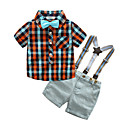 cheap Boys' Clothing Sets-Boys' Plaid Clothing Set, Cotton Summer Short Sleeves Casual Red Yellow Light Blue