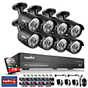 cheap Mobile Signal Boosters-SANNCE® 8CH CCTV Security System 1080P AHD/TVI/CVI/CVBS/IP 5-in-1 DVR with 8pcs 2.0MP Night Vision Weatherproof Cameras 1TB HDD