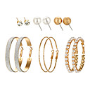 cheap Jewelry Sets-Women's Jewelry Set - Statement, Simple, Korean Include Stud Earrings Hoop Earrings Gold / Silver For Gift Daily Evening Party