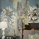 baratos Murais de Parede-Floral Art Deco 3D Decoração para casa Moderna Clássico Rústico Revestimento de paredes, Tela de pintura Material adesivo necessário Mural