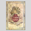 tanie Modne kolczyki-Hang-Malowane obraz olejny Ręcznie malowane - Kwiatowy / Roślinny Nowoczesny Brezentowy
