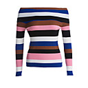 cheap Necklaces-Women's Daily / Holiday Striped Long Sleeve Regular Pullover, Boat Neck Fall / Winter Pink One-Size / Fine Stripe