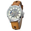 ieftine Ceasuri Mecanice-Bărbați Ceas de Mână Gravură scobită Piele Bandă Vintage / Casual / Modă Maro / Mecanism automat