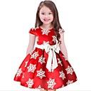 זול שעוני ספורט-שמלה כותנה פוליאסטר שרוולים קצרים פרחוני הילדה של יום יומי פול אודם