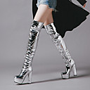 baratos Botas Femininas-Mulheres Sapatos Micofibra Sintética PU Gliter Inverno Outono Botas da Moda Botas Salto Robusto Ponta Redonda Botas Curtas / Ankle
